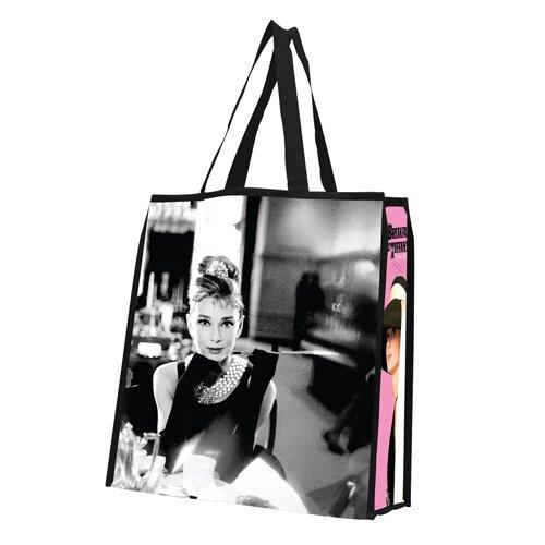 Vandor 92173 Audrey Hepburn Large Recycled Shopper Tote, Black/White/Pink