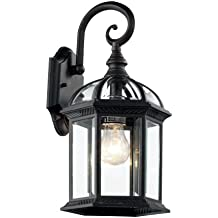 "Trans Globe Lighting 4181 BK Outdoor Wentworth 15.75"" Wall Lantern, Black"