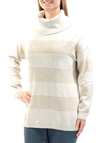 Tommy Hilfiger Womens Metallic Knit Turtleneck Top Gray M (Metallic Knit Turtleneck)