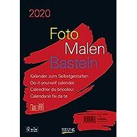 Foto-Malen-Basteln Bastelkalender A4 schwarz 2020: Fotokalender zum Selbstgestalten. Aufstellbarer do-it-yourself Kalender mit festem Fotokarton.