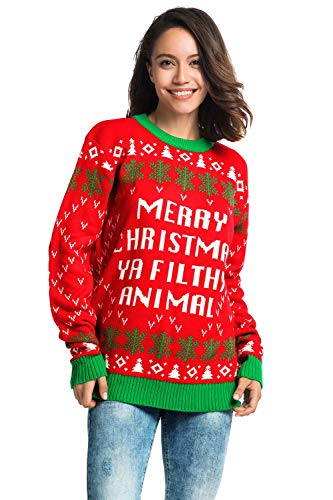 Unisex Men's Ugly Christmas Sweater Funny Xmas Pullover with Rude Slogan - Ho Ho Home Alone, Large for $<!--$19.99-->