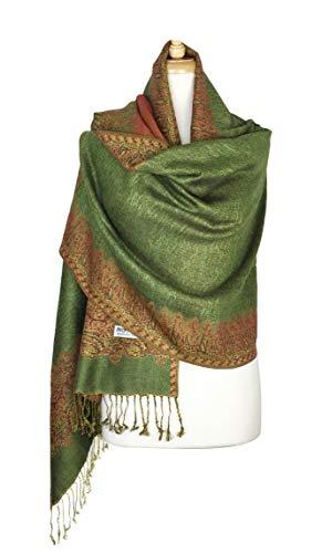New Shawl Silk Scarf (Paskmlna Border Pattern Double Layered Reversible Woven Pashmina Shawl Scarf Wrap Stole (#18light olive))