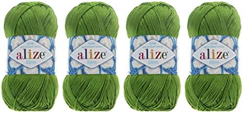 100% Mercerized Cotton Yarn Alize Miss Yarn Thread Crochet Lace Hand Knitting Craft Art Lot of 4 skn 200 gr Color (479-Green)
