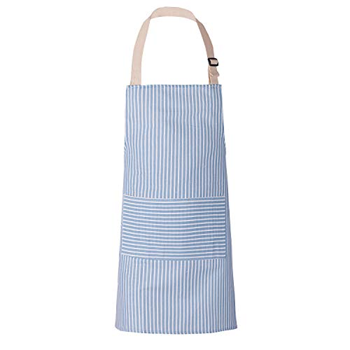 YURILIFE Soft Cotton Linen Kitchen Apron with Pocket for Women and Men Professional Cooking Apron Chef Designed (Stripe - Blue)