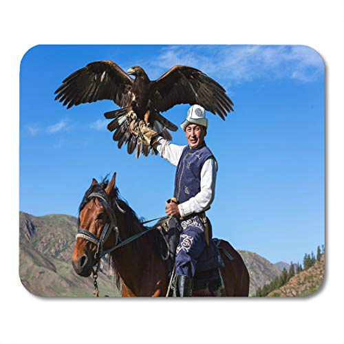 Boszina Mouse Pads Falconry Issyk Kul Kyrgyzstan May 29 Golden Eagle Trainer Holds His During Hunter Games in Issuk Lake Mouse Pad for notebooks,Desktop Computers mats 9.5