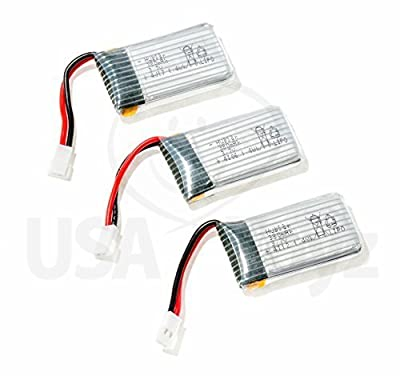 Set of 3 Genuine Hubsan 3.7V, 380mAh Rechargeable LiPo Batteries for Hubsan X4 H107C, DFD F180, F180C RC Quadcopter Drone