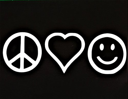 Chase Grace Studio Peace Sign Love Heart Be Happy Hippie Vinyl Decal Sticker|WHITE|Cars Trucks Vans SUV Laptops Wall Art|7.5