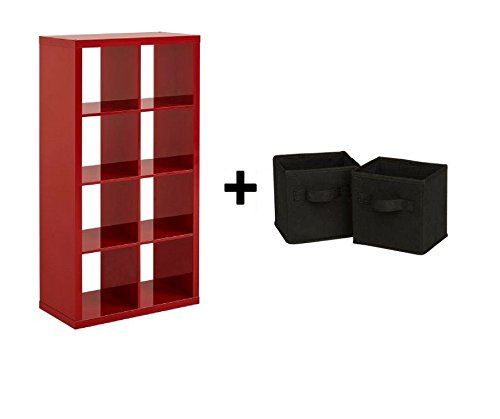 Better Homes and Gardens Furniture 8-Cube Room Organizer Storage Divider/Bookcase, High Gloss Red Lacquer with Storage Bin