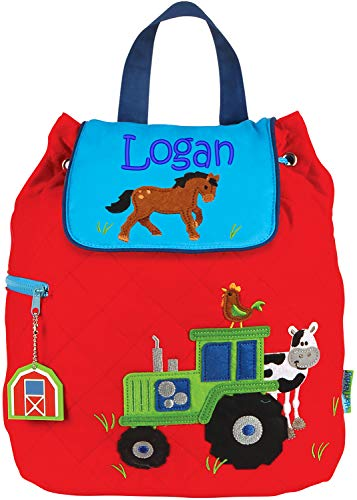 (Monogrammed Me Personalized Quilted Backpack, Red Boy Farm Tractor, with Embroidered)