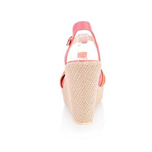 AllhqFashion Damen Fischkopf Schuhe Hoher Absatz Weiches Material Gemischte Farbe Schnalle Plateau-Sandalen Rot