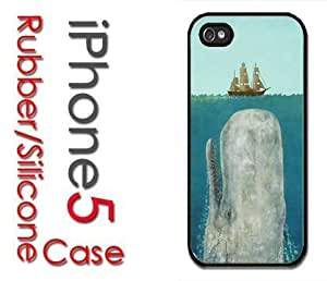 iPhone 5C (New Color Model) Rubber Silicone Case - Moby Dick Huge Whale under Boat Case