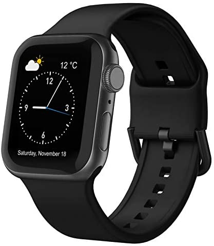 Adepoy Compatible with Apple Watch Bands 44mm 42mm 40mm 38mm, Soft Silicone Sport Wristbands Replacement Strap with Classic Clasp for iWatch Series SE 6 5 4 3 2 1 for Women Men, Black 42/44mm