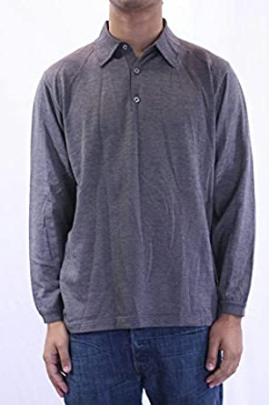 0cb8438a Image Unavailable. Image not available for. Color: St Croix Knits Men's Long  Sleeve Polo Shirt in Silver Marl ...