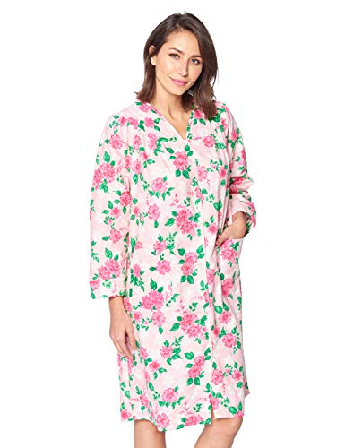 Lounger Flannel - Casual Nights Women's Floral Snap Front Flannel Duster Long Sleeve Lounger Dress - Pink Floral - Medium
