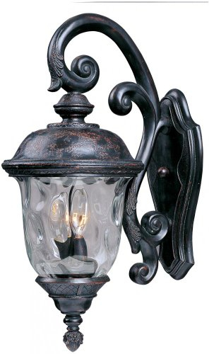Maxim Lighting 3497WGOB Carriage House DC 3-Light Top Mount Outdoor 26.5-Inch Wall Lantern, Oriental Bronze Finish ()