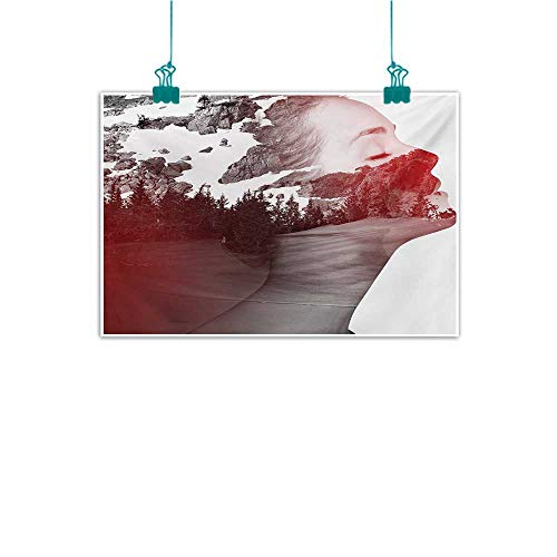 - Warm Family Modern Modern Frameless Painting Double Exposure Woman Portrait Combined with Rocky Mountain Pine Trees Image Bedroom Bedside Painting 35