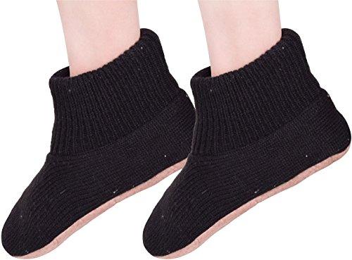 Pantoufles Chaussons Tricotés Par Temps Froid Pantoufles Pour Les Hommes Chauds Maison Hiver Chaussures Noires