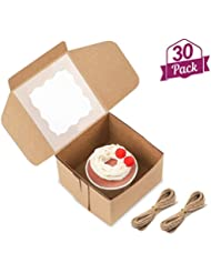 Moretoes 30 Packs 4x4x2.5 Inches Brown Bakery Boxes with Window Paper Gift Boxes for Pastries, Cupcakes, Small Cakes and Cookies