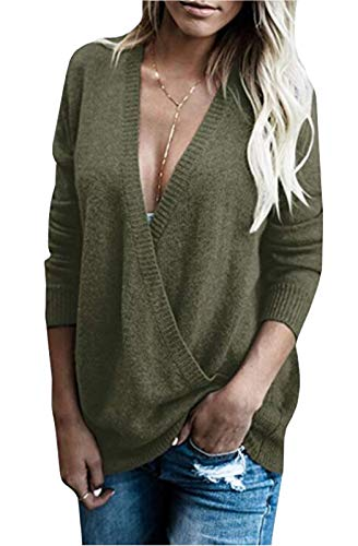 FEIYOUNG Women Long Sleeve Sexy Plunge V Neck Wrap Front Loose Sweater Pullover Jumper Tops Army Green
