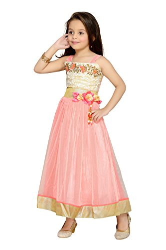 Aarika Girl's Self Design Net Fabric Party Wear Ball Gown (G-6235-GAJRI_40_15-16 Years) by Aarika