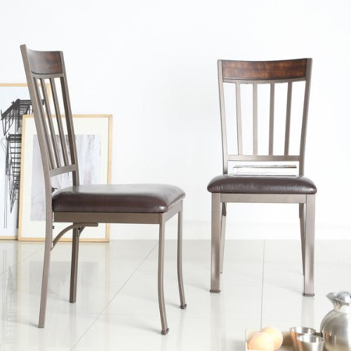 Keyaki Antique Bronze Metal Birch Wood Set Dining Room Furniture Side Chair Pair (2 Pcs)