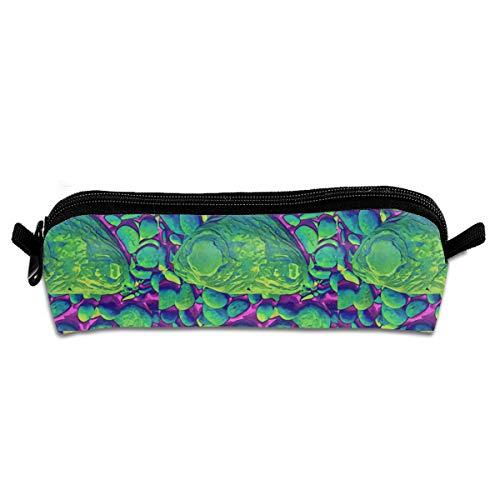EWFBVa Durable Zipper Stationery Bag Seamless Model of Green Ancient Fish Big Capacity Pencil Case