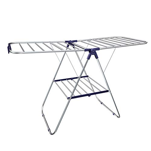 SONGMICS Stainless Steel Clothes Drying Rack, Bonus Sock Clips, Foldable for Easy Storage, Gullwing Space-Saving Laundry Rack ULLR52BU ()