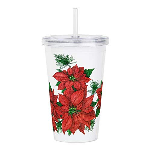 Acrylic Insulated Water Bottle Cup Christmas Poinsettias