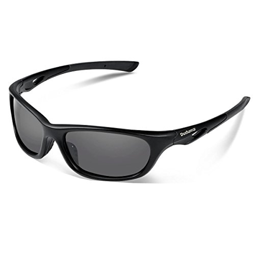 Duduma Polarized Sports Sunglasses for Baseball Running Cycling Fishing Golf Tr90 Durable Frame (646 black matte frame with black lens) by Duduma