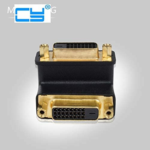 D Digital Dual Link Female to Female Extension Adapter for HDTV LCD Monitor Computer Cables 90 Degree Right Angled DVI 24+5 Cable Length: Other