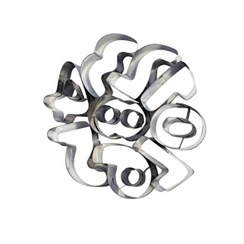 Alphabet Buchstaben Zahlen Metall-Ausstechformen zum Backen, zur Tortenverzierung Glasur, Fondant von Kurtzy TM