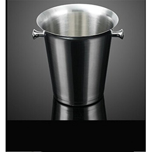Stainless steel thickened champagne pail, ice cube barrel, tiger top beer, ice bucket, hand carried ice folder,5L Tremella