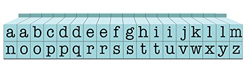 Letters Blue Alphabet - Contact USA Small 36-Piece American Typewriter Pegz Connectable Lowerase Alphabet Stamp Set, Pool Blue