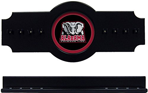 NCAA Alabama Crimson Tide ALACRR100-B 2 pc Hanging Wall Pool Cue Stick Holder Rack - Black by wave
