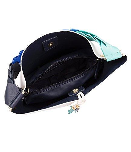 SIX Trend mittelgroße weiche weiße Schultertasche mit blau türkisem geknoteten Gurt und Quasten separate Innentasche Innenfarbe blau Büro (427-834)