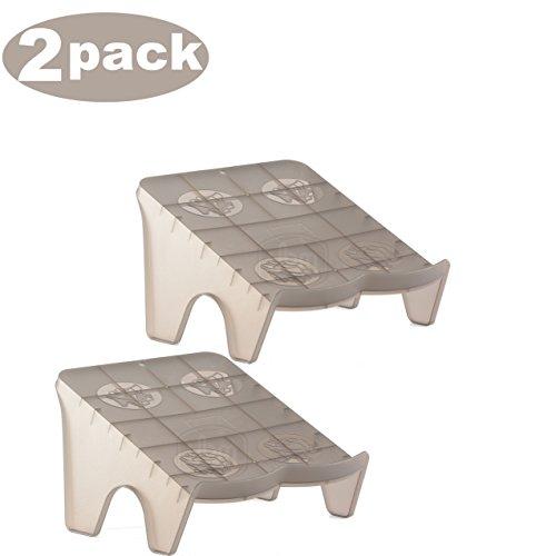 YBM HOME Ybmhome Plastic Double Layer Storage Free Standing 2 Pair Shoe Stand Rack Holder Stacker Shelf Closet Organizer Space Saver 2164-2 (2, Frosty Black) ()
