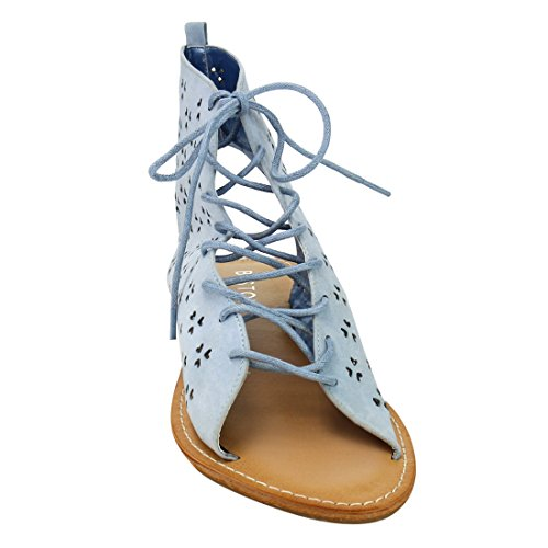 Perforated Ankle Up Lace out Flat DE40 Womens BESTON Laser Sandals Blue Front gnqwpZTEnS
