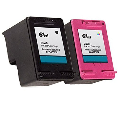 HOTCOLOR Compatible Ink Cartridge Replacement for HP 61 XL ( Black,Tri Color , 2-Pack )