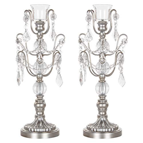 Amalfi Decor 2-Piece Glass Metal Candelabra Set, Single 1-Light Votive Candle Taper Candlestick Holder Unity Accent Stand (Silver) (Silver Unity Stand)