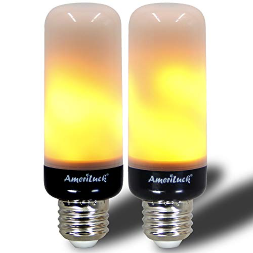 - AmeriLuck Slim Design LED Flame Bulb, Black Base, Auto Reverse Gravity Sensor, Realistic Flickering Fire Effect, Christmas Decoration Light, Perfect for Any E26 Lighting Fixtures, 2 Pack
