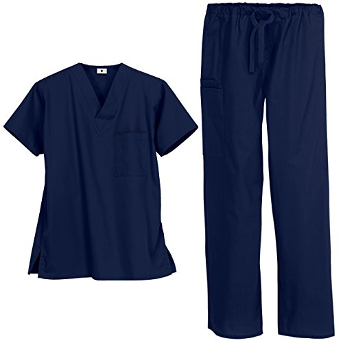 Strictly Scrubs Unisex Medical Uniform Set (Large, Navy)