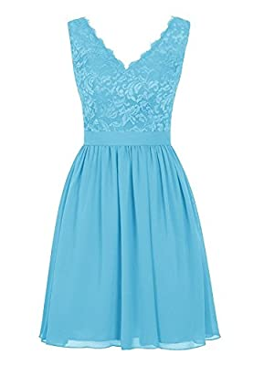 Angel Formal Dresses Women's V Neck Lace Dress Bridesmaids Dress Short Prom Dress