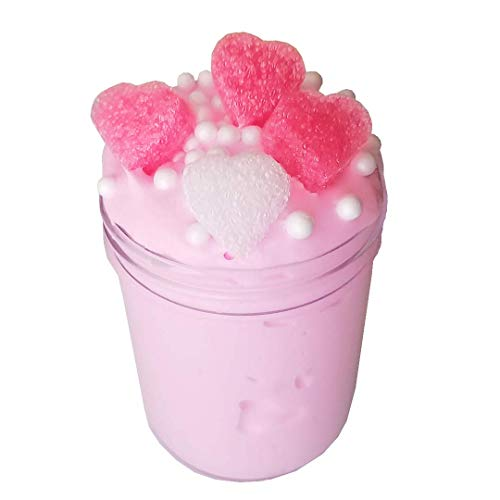 Sweet Heart Tart Scented Slime 4 oz Thick Clay Butter Slime Handmade w/Foam Beads & Floam Hearts Activator Package Party Favor For Girls/Boys Add Ins Accessories Homemade Non Toxic Toys For Kids -