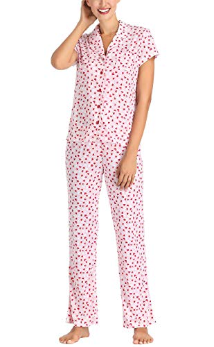 Lounge Set Heart (Women Pajama Set Short Sleeve and Lounge Pants Notch Collar Button Pink with Red Hearts Large)