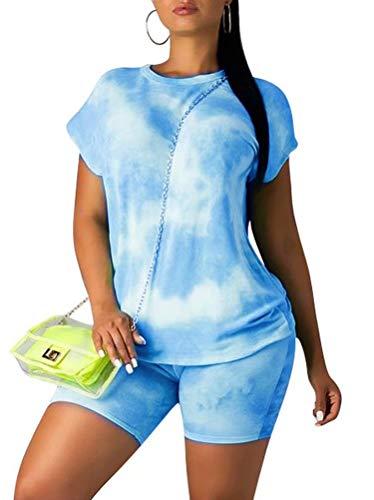 Ramoug Women Summer Tie Dye Colorful Print 2 Piece Shorts Set Tracksuit Outfit