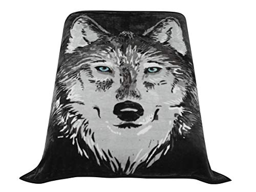 HIG Premium Thick Blanket with Double Layer Reversible Plush Raschel Blanket Wolf Printed - Supersoft, Warm, Silky, Hypoallergenic, Fade Resistant in Queen Size (79