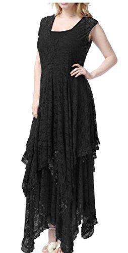 Jaycargogo Femmes Sans Manches En Dentelle Florale Sur La Taille Robe Crochet Asymétrique Noir