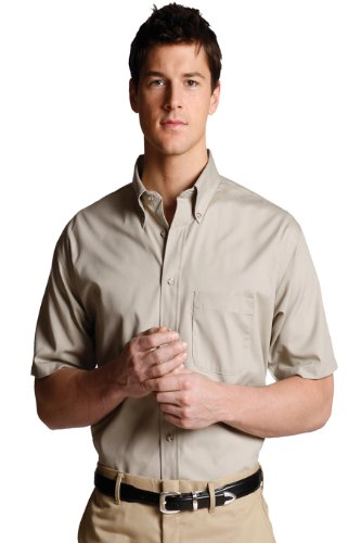 Mens Short Sleeve Garment - Ed Garments Men's Big And Tall Button Down Short Sleeve Poplin Shirt, TAN, XLT