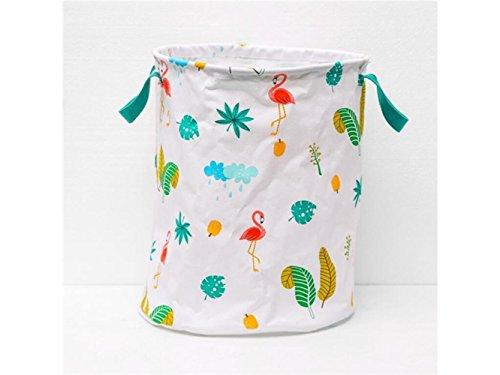 Gelaiken Lightweight Flamingo Pattern Storage Bucket Cotton and Linen Bucket Sundries Storage Bucket(White) by Gelaiken