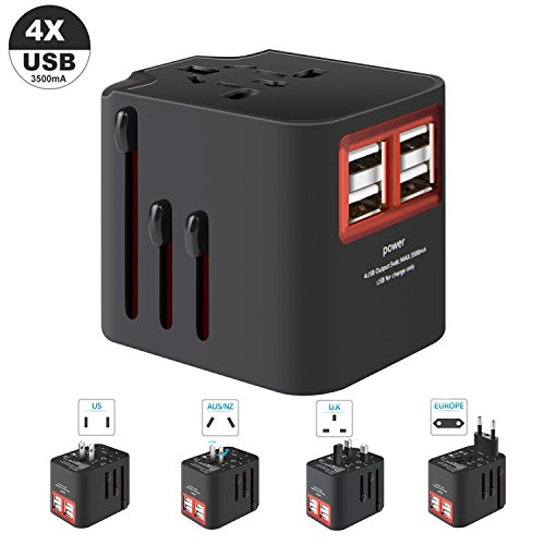 Worldwide Travel Adapter, LKY DIGITAL All in One Universal AC Plug Adapter International Power Converter Outlet Wall Charger with 4 USB Charging Ports for US EU UK AUS European Asia - Built-in Fuse